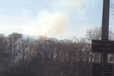 A brush fire broke out in Inwood Hill Park April 21, 2014.