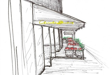 A hand-drawn rendering of the outdoor space at Charlie Bird, opening May 9.