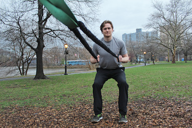 Eoghan O'Kelly's fitness training at Inwood Hill Park will involve stretching, resistance training with bands and movements aimed at increasing mobility.