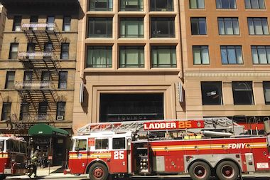About 78 firefighters battled the blaze at 344 Amsterdam Ave. Wednesday morning, FDNY officials said.