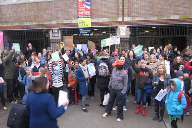 Students, teachers and parents rallied in front of P.S. 321 recently against the standardized state English tests.