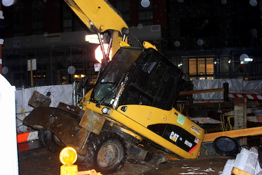A water main broke at a construction site at Hudson and Leonard streets, the FDNY said.