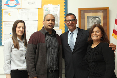 "Inwood JHS 52 Principal Salvador Fernandez (center, right) and his ""leadership team"": Assistant Principals Suzanne Sheerin, Luis Tejada, and Lupe Leon."