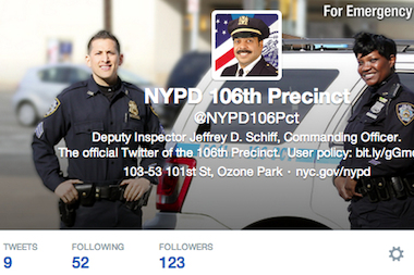 Some NYPD precinct commanders are tweeting again, including Deputy Inspector Jeffrey Schiff for the 106th Precinct in Queens.