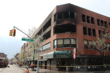The fire started on the third floor, a source said.