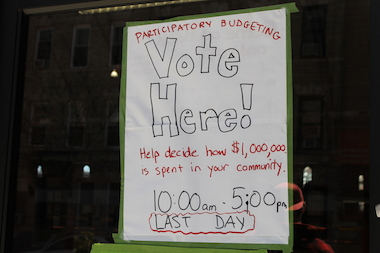 Residents of District 39 voted on participatory budgeting proposals at the Park Slope Armory YMCA on Sunday.