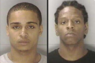 Robert Cartagena (left) and Tyshawn Brockington (right), seen here in their booking photos, were taken into custody in Columbia, S.C., on Sept. 21, 2011, in connection with the murder of Harlem basketball star Tayshana Murphy. Cartagena was convicted Tuesday of second degree murder in the case. Brockington was convicted of the same charge last year. Both men were sentenced to serve 25 years to life in prison for the murder.