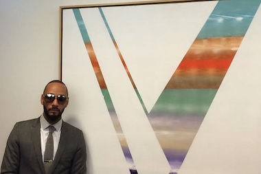 "The multi-colored ""V"" against a white backdrop stands for ""Victory,"" said Kasseem ""Swizz Beatz"" Dean, a hip hop producer and artist who has worked with people such as rapper Jay-Z and is married to superstar Alicia Keys. The painting was donated Thursday to the Henry J. Carter Specialty Hospital and Nursing Facility on Park Avenue and East 122nd Street and is meant to serve as an inspiration for both patients and staff."
