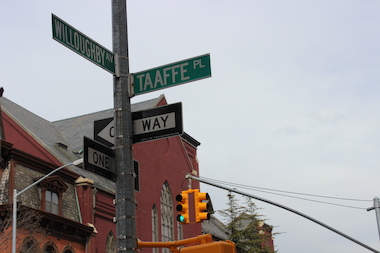 The city installed a new traffic light on the corner of Taaffe Place and Willoughby Avenue after community complaints.