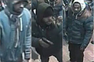 Three men robbed a sneaker salesman in a Harlem clothing store on March 18, police said.