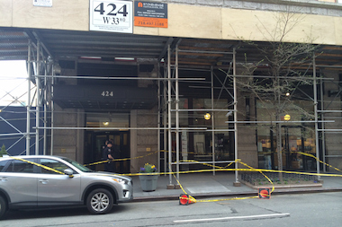 An unidentified construction worker was killed in a fall from a 10-story building in Chelsea, officials said April 14, 2014.