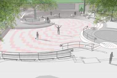 The multilevel feature, part of the original design, will be preserved as will the amphitheater.