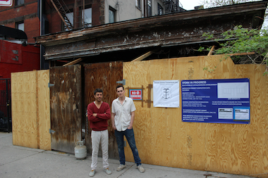 Dane Risch, left, and Palmer Thompson-Moss, right, plan to open a bar at 1095 Bergen St. in November.