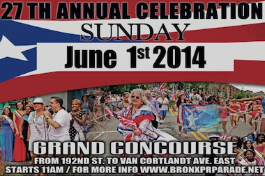The Bronx Puerto Rican Day Parade will begin on Sunday, June 1 at 1 p.m. at Grand Concourse and 192nd Street.