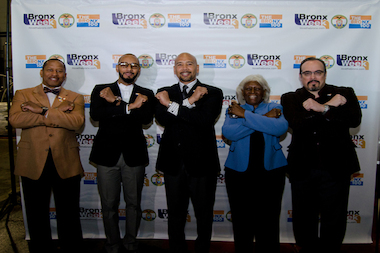 Councilman Andy King, Swizz Beatz, Ruben Diaz, Deputy Borough President Aurelia Greene and David Zayas (L-R) come together to celebrate Bronx Week.
