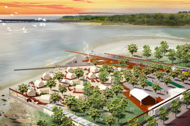 A rendering of the vision of Camp Rockaway. The location is not confirmed, but designer Kent Johnson said he's open to establishing the luxury camp in many places on the peninsula.