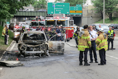 The car caught on fire about 1:35 p.m. Tuesday afternoon.