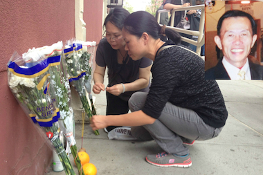 The family of Ruan Wen Hui, who was beaten to death on his way home May 9, 2014, mourned his passing at the site of the attack. Inset: A photo of Hui.