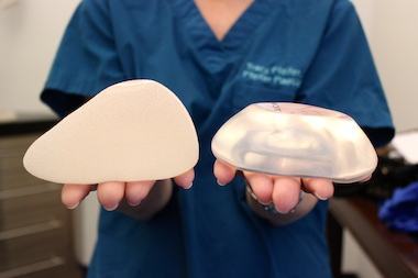 "Plastic surgeon Dr. Tracy Pfeifer showed the difference between teardrop implants (left) and what she calls ""round, round"" implants (right). Teardrop implants were first approved by the Food and Drug Administration in 2012 and are designed to create a very natural cleavage, she said."