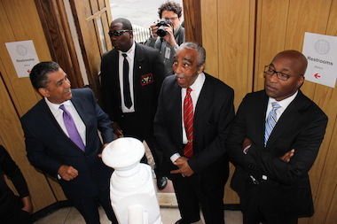 Rep. Charles Rangel, seen here with opponents Rev. Michael Walrond and state Sen. Adriano Espaillat before a May debate, lobbed several racially charged attacks at Espaillat Friday.