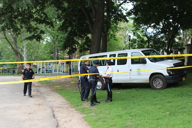 A boy was hit by a Parks Department van inside Morningside Park at 113th Street and Manhattan Avenue on Tuesday, May 27, 2014.