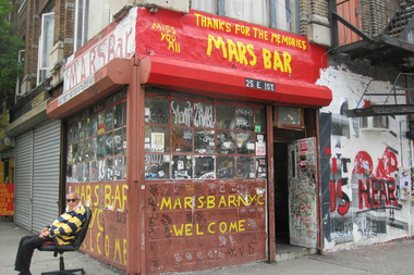 Mars Bar owner Hank Penza (at left) in front of Mars Bar in June 2011.