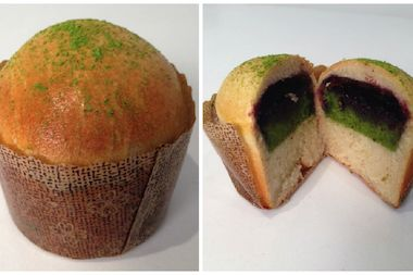 Milk bread with green tea chiffon cake with blueberry preserves at Silk Cakes in Forest Hills.