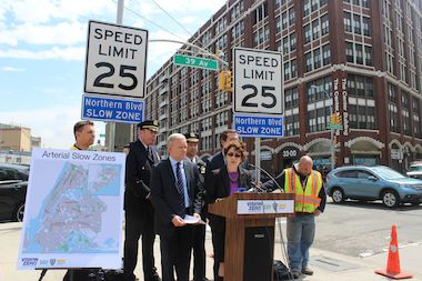 "City officials announce that a stretch of Northern Boulevard will be an ""arterial slow zone,"" where the speed limit will be reduced from 30 to 25 mph."