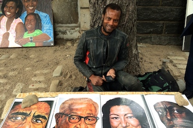 Jeffrey Reid sells his large-scale paintings outdoors in varying places in Fort Greene.
