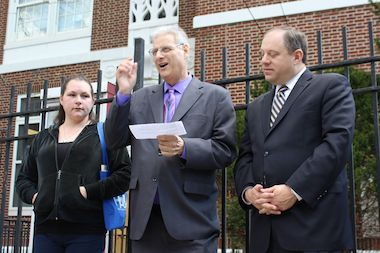 Nicole Lopez, a parent from the school, Jack Friedman, executive director of the Queens Chamber of Commerce, and City Councilman Rory Lancman in front of P.S. 117 in Briarwood.