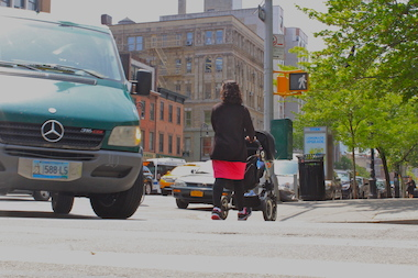 A taxi turning off of Sixth Avenue onto West 11th Street hit a caregiver with a baby in a stroller last June, fracturing her back and throwing the baby from the stroller.