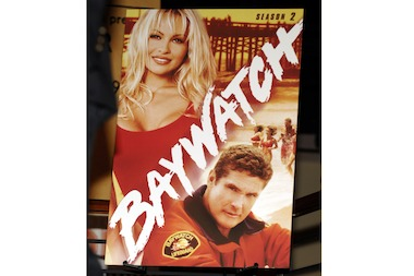 Actress Pamela Anderson and her bulky cleavage were made famous by her role in the TV series Baywatch.