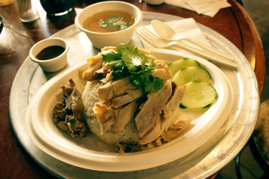 The chicken dish is popular in street carts in Thailand.