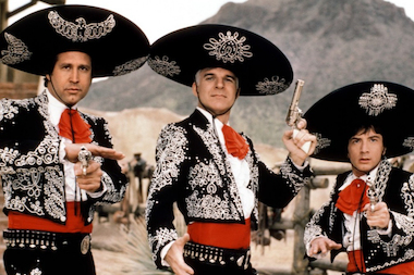 "Chevy Chase, Steve Martin and Martin Shorts start in the 1986 film ""Three Amigos!"" It is showing at Tribeca Cinema on May 5 for Cinco De Mayo."