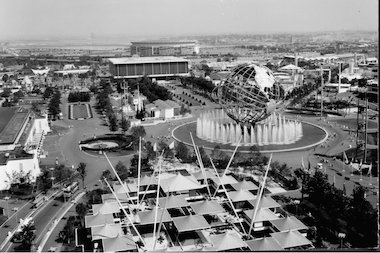 An aerial shot of the 1964 World's Fair.