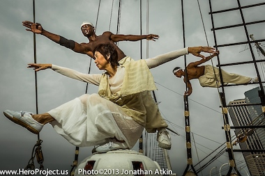 Large-scale photos of dancers on historic ships are on display in the Steamship Lilac, at Pier 25.