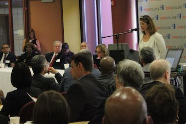 Alicia Glen, deputy mayor for housing and economic development speaks at an event at York College Tuesday morning.