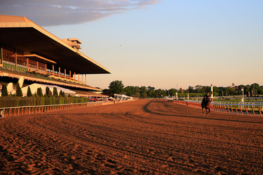 Horses train on the track at Belmont Park on June 6 ahead of the146th running of the Belmont Stakes.