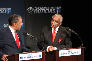 "Charles Rangel lit into Congressional foes before telling the audience ""now is not the time for trainees."""