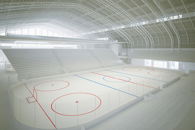 A rendering of the planned Kingsbridge National Ice Center to be built inside the Kingsbridge Armory.