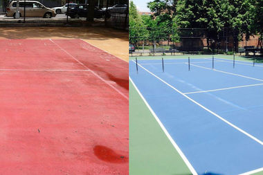 The Marcy Playground tennis court before renovation (left) and after.