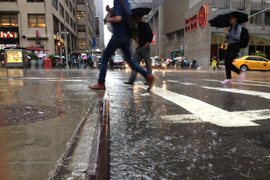 Rain soaked the city Monday morning to provide a wet start to the work week.