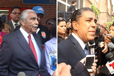 Leading candidates for the 13th Congressional District seat Rep. Charles Rangel and state Sen. Adriano Espaillat cast their votes in Harlem and Washington Heights this morning.