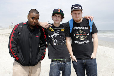 Sean O'Connell, Tristan Nevirs and Darnell Brown, met in junior high school and have released a rap song together about Rockaway after Hurricane Sandy