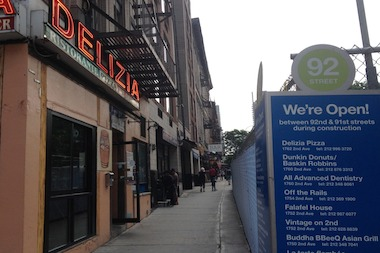 Profits at Delizia 92 have gone flat since construction started, the owner said.
