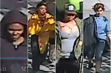 Four women acted together to rob four other people around Washington Heights, police said.