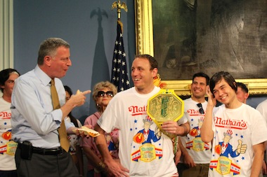 Contests for the annual 4th of July hot dog eating contest on Coney Island weighed in at City Hall on July 3, 2014.
