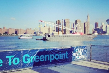Cranes were installing a new landing for Greenpoint's East River Ferry stop on Thursday.