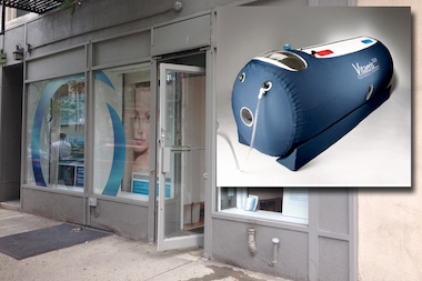 A woman was briefly trapped inside a hyperbaric chamber at Pure Flow on 15th Street, police said.