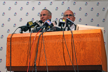 Mount Sinai Hospital president David Reich and chief medical officer Jeremy Boal (l-r) told reporters they did not think a man who was admitted to the hospital early Monday morning with Ebola virus-like symptoms was likely to have the disease, Aug. 4, 2014.